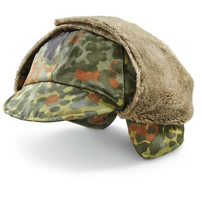 Genuine German Army Military Winter Pile Cap flecktarn hat warm cold weather