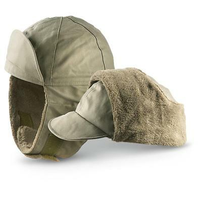 Genuine German Army Military Winter Pile Cap Olive drab OD hat warm cold weather