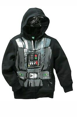 Star Wars Kid's Darth Vader Hoodie Jacket Zip Up Black Size Small NWT