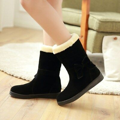 Girls Casual Bowknot Fur Cuffed Winter Ankle Boots Synthetic Walking Wedge Shoes