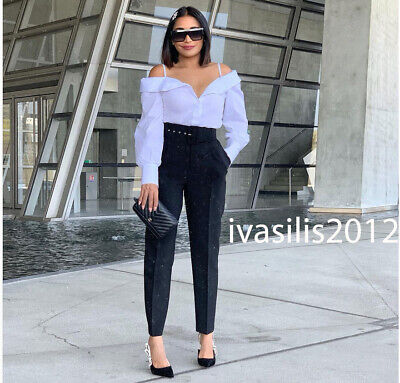 9a78f032 Zara New Woman High Rise Trousers With Belt Pant Black Xs-Xl 8372/228