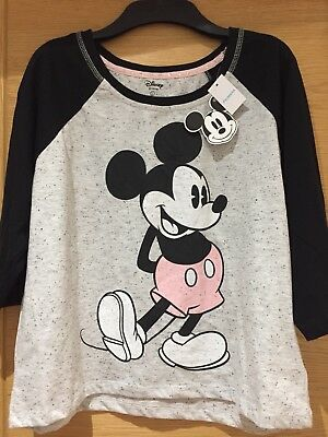 Disney Mickey Mouse Shirt, By Primark, Grey&Black, Old Style Mickey Mouse.