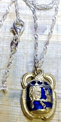 """Sterling Silver 925 Chain 30""""  Egyptian Beetle Scarab with Hieroglyphics"""