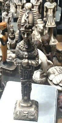 Egyptian Statue King Tutankhamun Hand Carved Natural Stone, 180mm, see all Scan