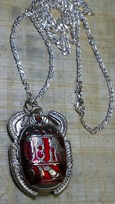 """Sterling Silver 925 Chain 28""""  Egyptian Beetle Scarab with Hieroglyphics"""