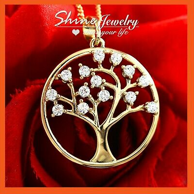 18K Gold Filled Tree Of Life Filigree Crystals Bodhi Solid Pendant Necklace Gift