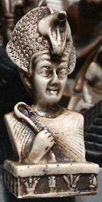 King Tutankhamen wearing cobra-shaped crown, Hand Carved Natural Stone, 65mm