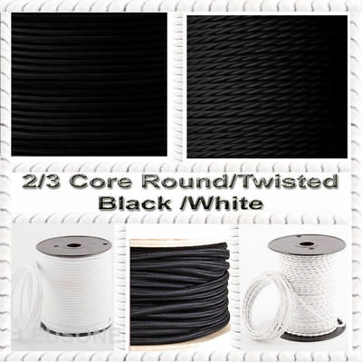 Vintage Black/White Flexible Cable Round/Twisted Fabric Lighting 0.75mm 2/3 Core