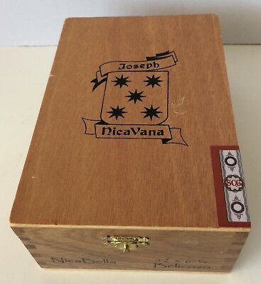 Cigar Box Joseph NicaVana EMPTY Wood Hinged lid Storage Stash Crafts