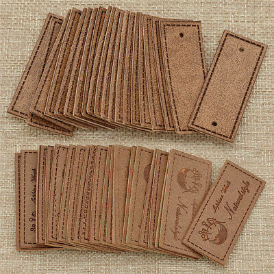 20 Pcs Vintage Natural Style PU Leather Labels Blank Tag for Garment Bags Sewing