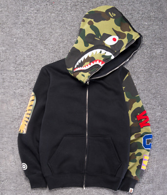 2dcf25519976 Bape Bathing ape Jacket SHARK Head Camo FULL ZIP HOODIE Long Sleeve Clothes