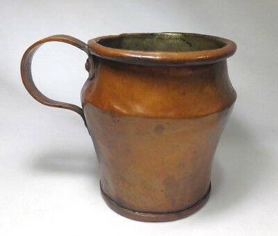 Early 20Th C Vint (Us) Arts & Crafts Hand Forged Copper Mug, W/attached Handle