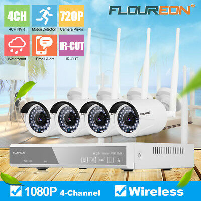 4CH Wireless CCTV 1080P DVR Kit Outdoor Wifi WLAN 720P IP Camera Security System