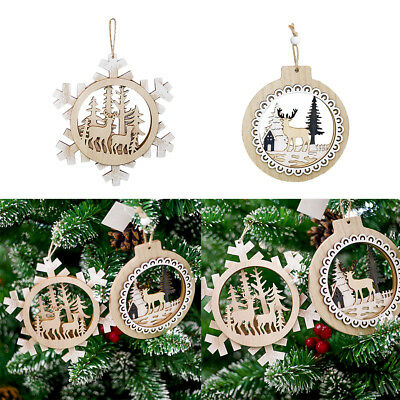 Wood Hollow Tags Xmas Christmas Tree Pendant Ornament for Party Decoration