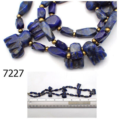 Rare Primitive BIG Pendant Lapis Lazuli Carved GOD HANDS Bead Strand #7227