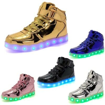 UK Kids Girl Trainers Flashing LED Luminous Light Top Sneakers Casual Shoes Size