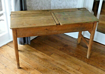 Double Pine School Desk Circa 1950's/60's