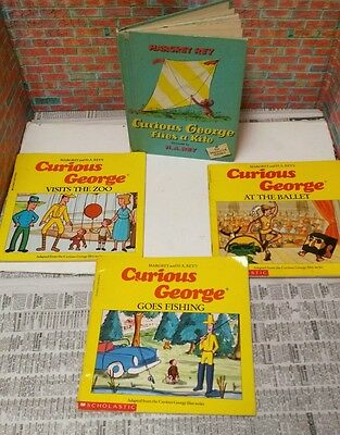 Set of four vintage Curious George storybooks