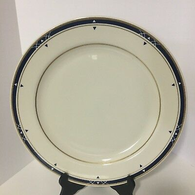 "Homer Laughlin 12"" Best China Chop Plate, Round platter, Blue and gold Geometric"