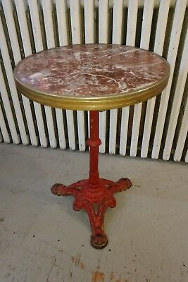 Antique Cast Iron Brass & Marble Cafe Garden Table In Red