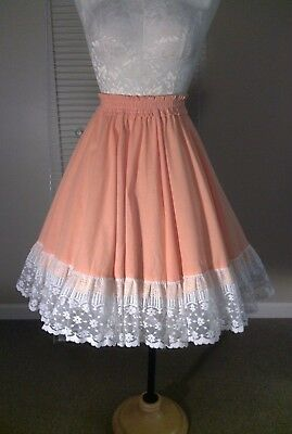 Vintage Full Circle Rockabilly Square Dance Lace Tier Pin Up Coral Skirt  M/L