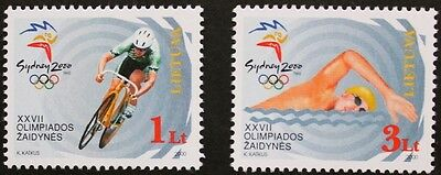 Olympic games stamps, 2000, cycling, swimming, Lithuania, SG ref: 738 & 739, MNH
