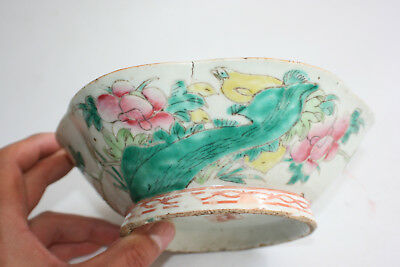 19th Century Antique Chinese Porcelain Hand Painted Flower Shape Bowl - Marks