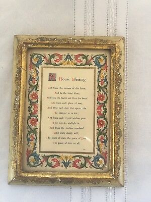 "Vintage Gold Gilt White Italian Florentine Toleware Framed Blessing 7"" by 5 3/8"""