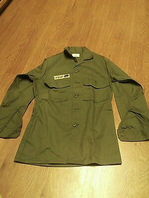 #-1S Vintage Nos Us Army Military Man's Shirt Utility Og-507 Size 14 1/2 × 31