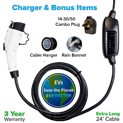 Electric Vehicle Car Charger 16A Dual 120/240V Level 2 EVSE- 14-30/50 combo plug