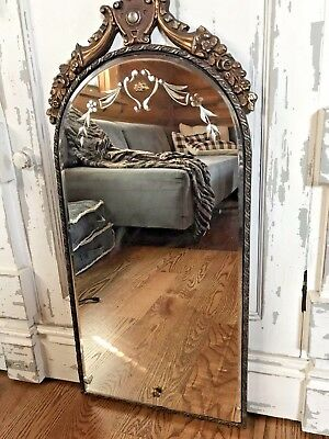 Antique Art Deco Wood Gold Frame Etched Wall Mirror