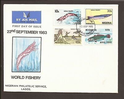 Nigeria 1983 Airmail FDC. World Fishery, shrimp, fish, barracuda