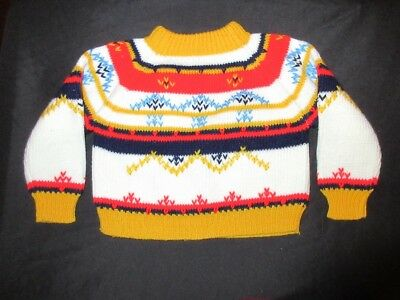 VTG 80's Montgomery ward Baby Ski Sweater 2t 9 12 m Acrylic Yellow Bule Red