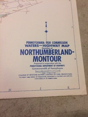 Vintage Pennsylvania Fish Commission Map Counties Of Northumberland-Montour
