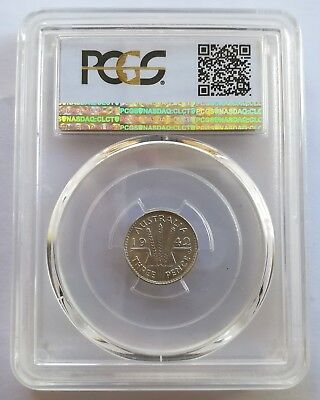 Australian 1942 (d) THREEPENCE 3D PCGS Graded MS63
