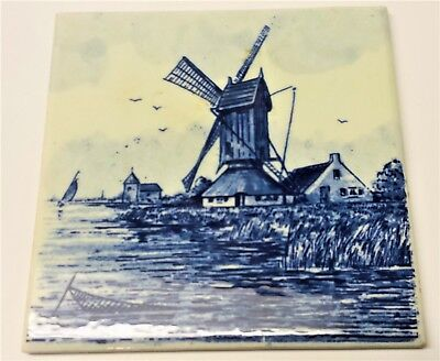 "Vintage Antique Delft Hand Painted Tile Made By Mettlach Germany 4-1/4"" x 4-1/4"""
