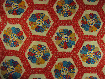Calico Dresden Plate Cotton Fabric Vintage by the yard