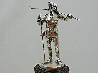 ANTIQUE SWEDISH SILVER STATUE Sweden Army Military Rifle Ski   HALLBERG sterling