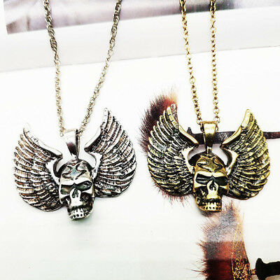 Gothic Amulet Punk Bee Luminous Skull Glow In The Dark Wing Pendant Necklace