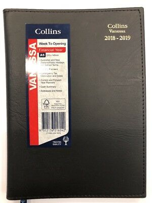 2018 2019 Collins Vanessa A5 Week to View Opening WTV Financial Year Diary BLACK