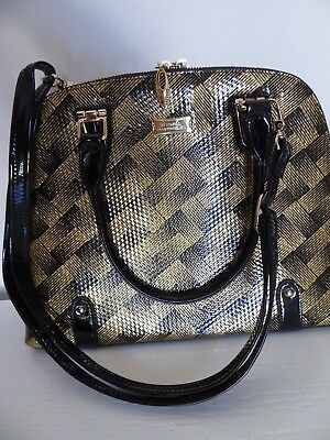 Serenade Classic Gold/Black Print Leather Handbag, Only Used Once, As New