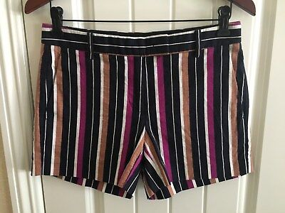 Ann Taylor Sz 2 Devin Fit Cotton/Spandex Shorts Striped NavyTan Purple Striped