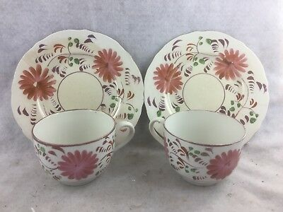 Pair of Antique Staffordshire Pink Lustre Tea Cups with Saucers
