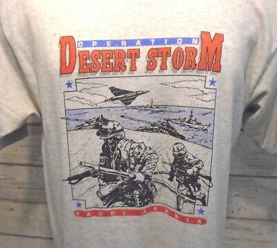 OPERATION DESERT STORM Vintage 90's US Military Victory Shirt Mens L EUC 1