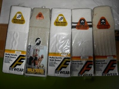 5 Pairs Vintage Fitwear Cotton Nylon Blend Walk Socks Sox New In Packet NOS