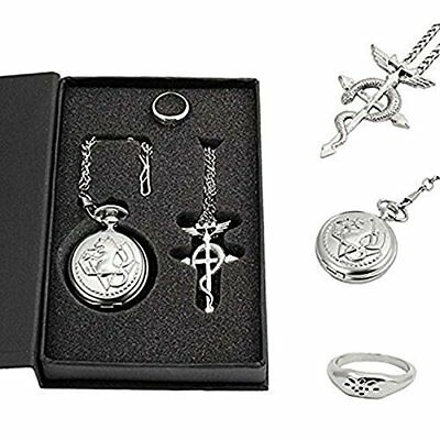 Powshop Fullmetal Alchemist Anime Pocket Watch with Necklace & Ring Anime