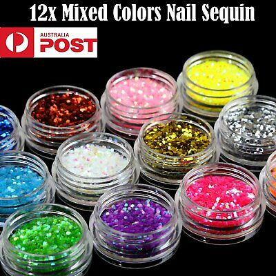 12 Boxes Colorful Holographic Nail Art Glitter Sequins Multi Nail Flakes Glitter