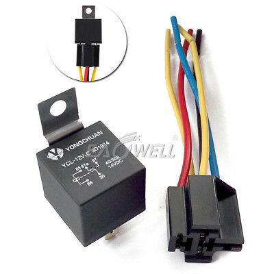 DC 12V Car SPDT Automotive Relay 5 Pin 5 Wires w/ Harness Socket 30/40 Amp New