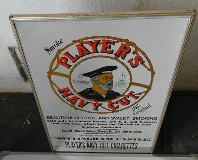 1960's VINTAGE BAR PLAYER'S NAVY CUT CIGARETTE TOBACCO MIRROR ADVERTISING SIGN
