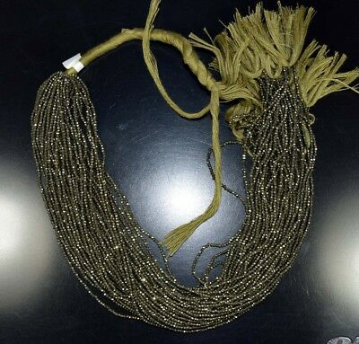 """2  MM  13"""" 100%  Natural 1  Line   Pyrite  Untreated Beads Strand"""